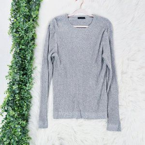 ASOS Gray Crewneck Muscle Fit Ribbed Sweater M